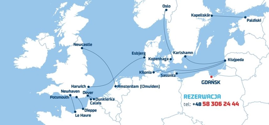 DFDS map SeaTours www